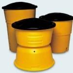 sand barrel, yellow traffic barrel