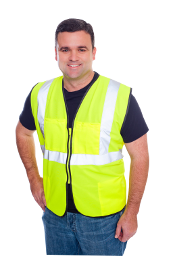 Class II Solid Vest Lime/Orange Zip, 4 Pockets