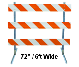 "Type III Plastic Barricades 72"" Wide"