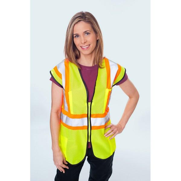 Class II Premium Mesh Vest Lime/Orange Zip, 4 Pockets