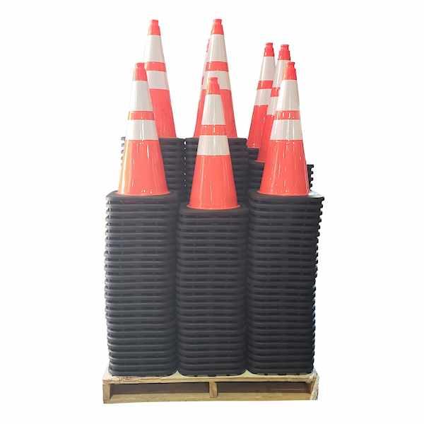 "300 Traffic Cones Full Pallet 28"" 7lb w/ 4"" & 6"" H"