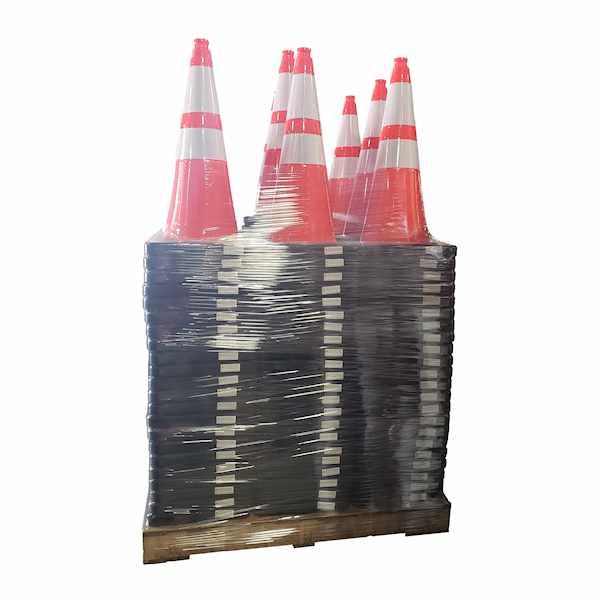 "200 Traffic Cones Full Pallet 28"" 10lb w/ 4"" & 6"""
