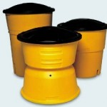 sand barrel, yellow traffic barrel
